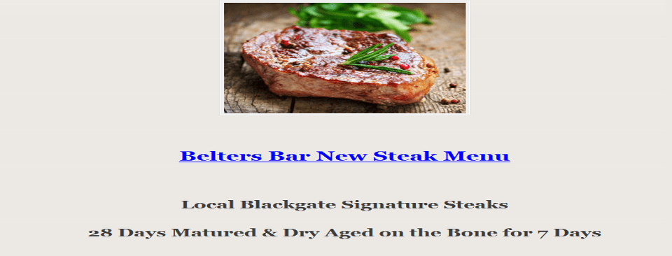 BeltersBar New Steak Menu